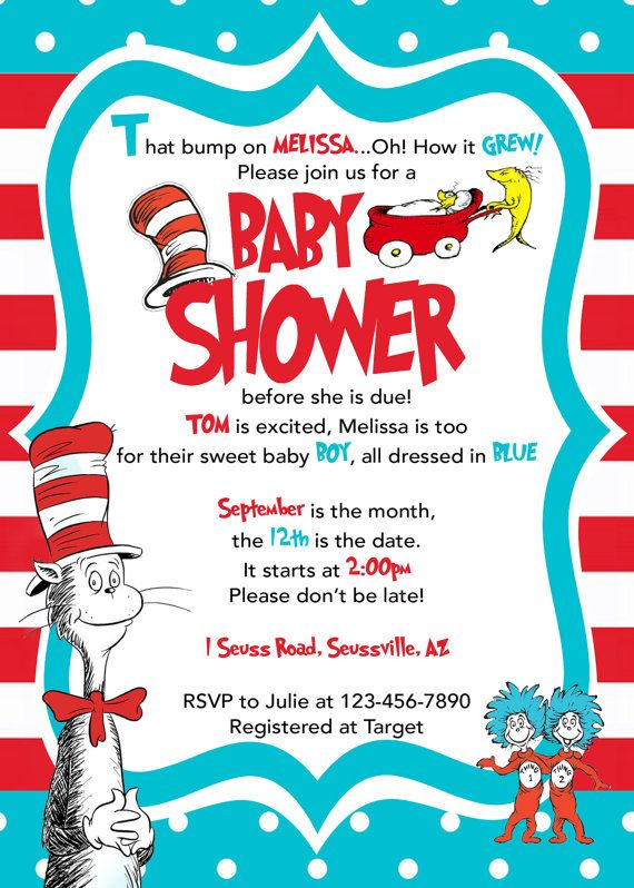 Dr. Seuss Baby Shower Invitation Cat in by LittleGermanBoutique