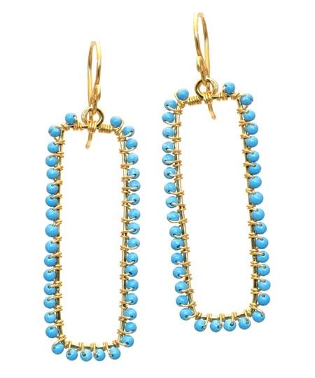 ❥ Calico Juno Turquoise Bar Earrings