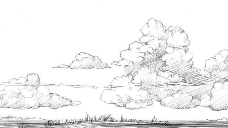 Wie die Wolken auf dem Himmel vom Bleistift etappenweise zu zeichnen 4