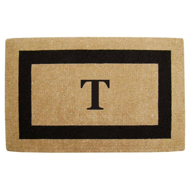 Enterprises Elegant Heavy Duty Coir Monogrammed Black Door Mat (22 in. x 36 in. Black Monogrammed T)