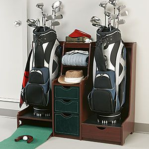 Double Golf Bag Organizer With Practice Green Golfbag Storage