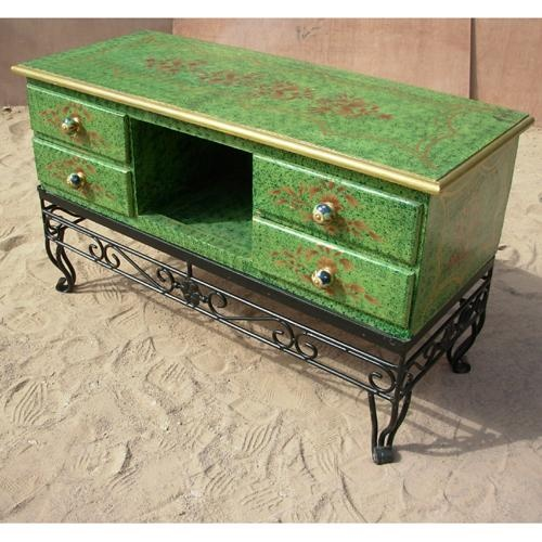 Antique Green Wood And Wrought Iron Credenza Cabinet Serving Table Buffet