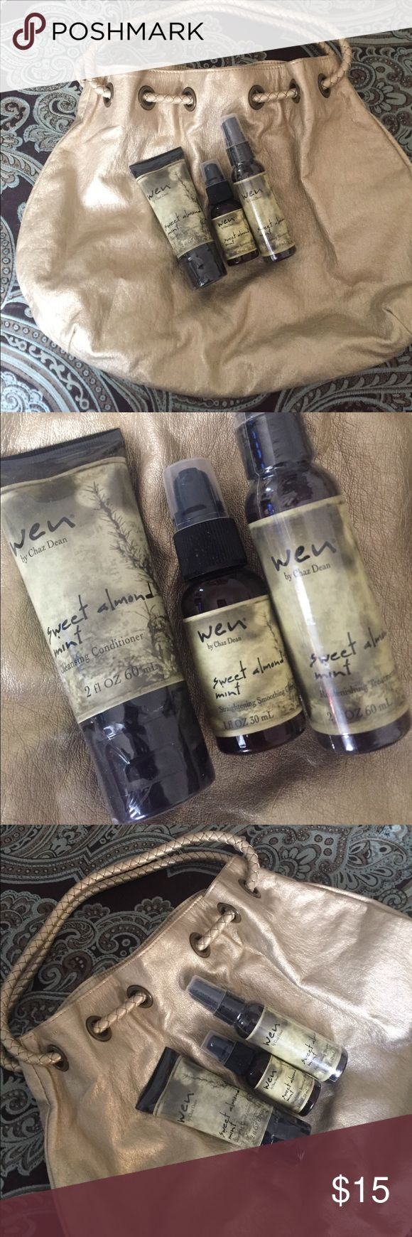 Wen Hair Care and Bag WEN Hair Care and Bag. Unused Wen Cleansing Conditioner 2oz, Replenishing Treatment 2oz, Smoothing Gloss 1oz. Cute gold metallic drawstring bag included. WEN Makeup