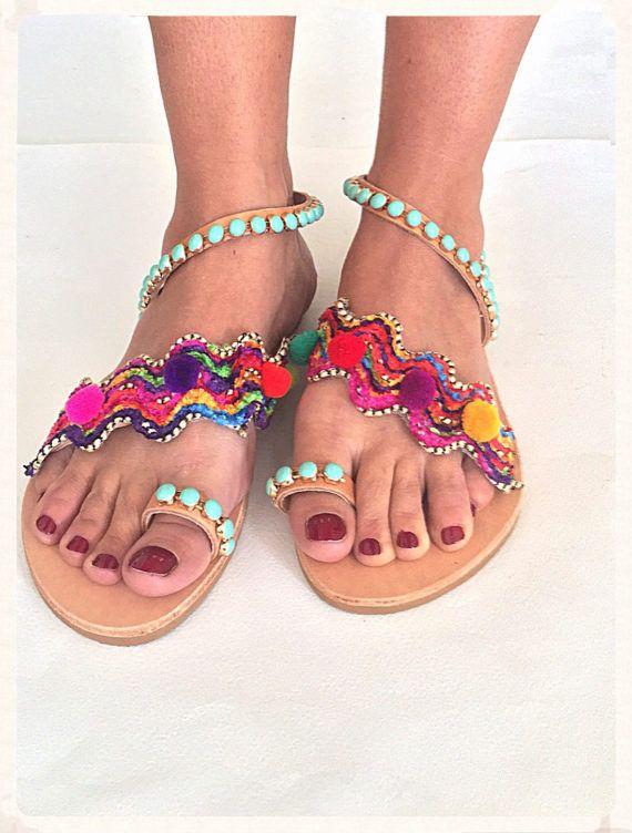 Handmade Leather Sandals Isidora Pom Pom by BohemianFootprints