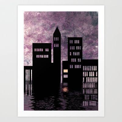 City Skyline - Riverside Art Print by Ally Coxon - $20.00: Riverside Art, Art Prints, City Skylines, Urban Architecture, Ally Coxon