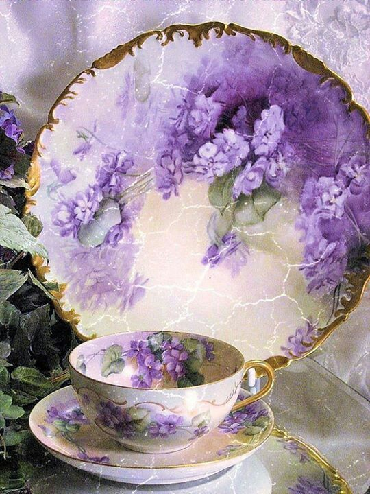 FRENCH AFRICAN PURPLE VIOLETS TEA CUP & SAUCER Antique Limoges France Teacup…