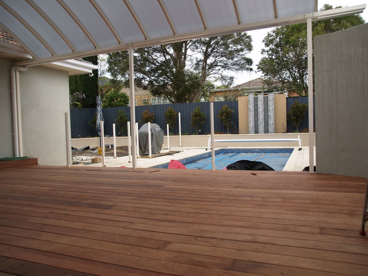 Deck completed, Water Feature and pool fence posts installed