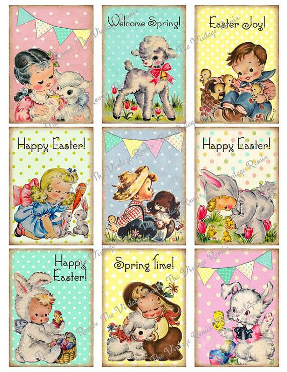 INSTANT DOWNLOAD Easter Printable Digital Collage Sheet of