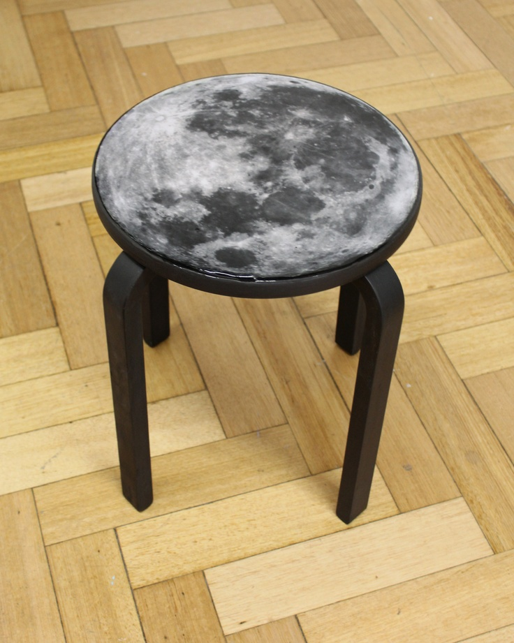 Dell Stewart - 'Moon Stool' - wooden stool, paint, decoupage, digital print, resin; 46.5cm x 42xm x 42cm