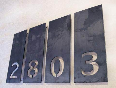 14 best modern house numbers by bold mfg images on for Plaque inox decoupe