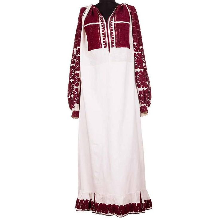 A dark red traditional Romanian dress, vintage and entirely handmade!  #florideie #fashion #style #romania #design #vintage #traditional #motifs #flowers #red #darkred #embroidery #dress #woman