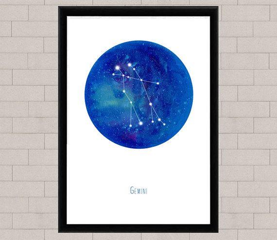 Gemini Konstellation Fine Art Print Aquarell Druck