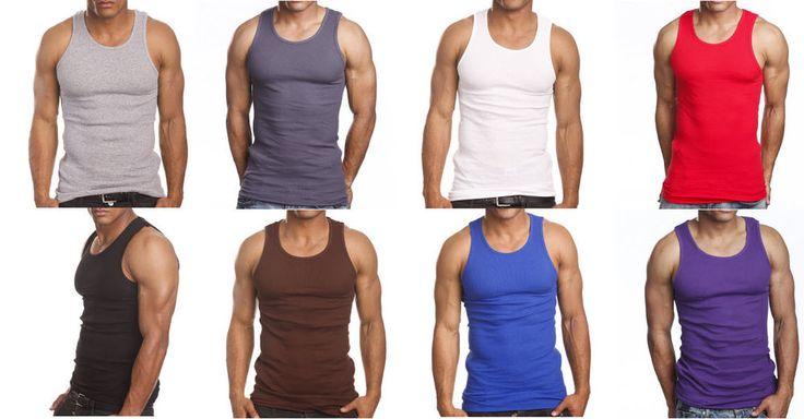 3 or 6 Pack Men's Tank Top 100% Cotton A-Shirt Lot Wife Beater Ribbed Undershirt #Apparel99 #BasicTee