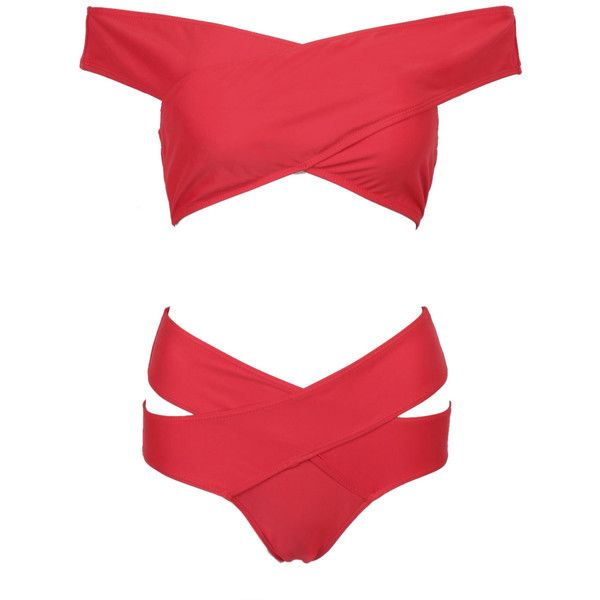 Red Off Shoulder Cross Wrap Bikini Top And High Waist Bottom (€18) ❤ liked on Polyvore featuring swimwear, bikinis, swimsuit, bikini, swimwears, high waist bikini swimsuit, high waisted bathing suits, off the shoulder bikini top, swim tops and red swimsuit
