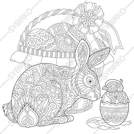Coloring Page For Adults Digital Coloring Page Easter Bunny Etsy Coloring Pages Coloring Books Cute Coloring Pages