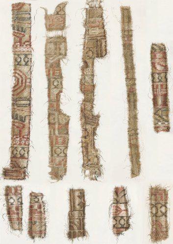 Шелковые текстиль из Персидского региона найденного на корабле в Oseberg. На шелке можно увидеть части мотивов птиц, связанных с персидской мифологией, Листья клевера, зороастрийские зодиакальные символы.