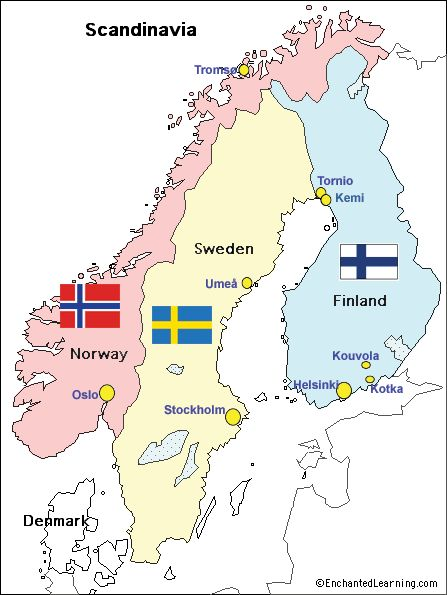 """No such """"place"""" as Scandinavia... a mountain range, Scandit Mountains, runs through Norway & Sweden... Finland, because attached, gets rolled in to """"scandinavian countries"""""""