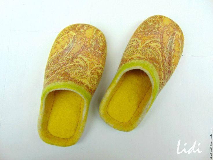 Купить Валяные тапочки Лимонное солнце, войлочные тапки - желтый, лимонный цвет, солнце, весна
