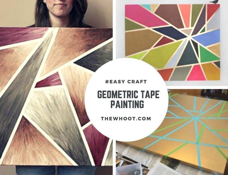 Diy geometric painting with tape ideas geometric