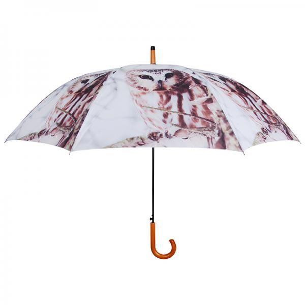 Nagy méretű esernyő téli bagoly mintával.