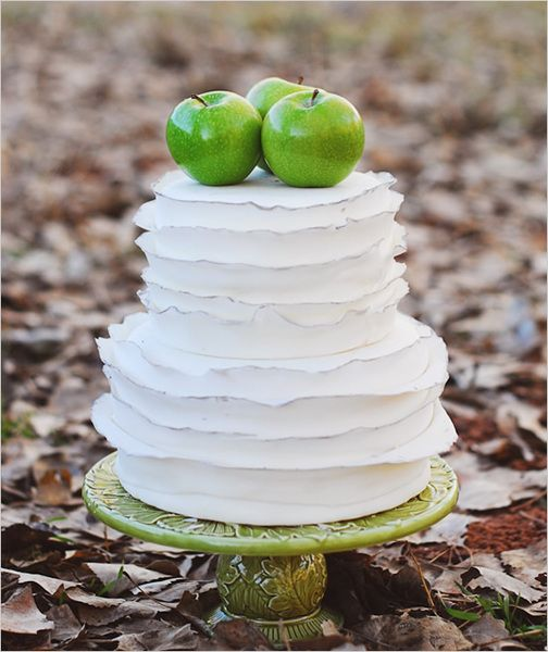 fall, apple, cake, multi-tier, buttercream, round, rustic, cakes, white, green, wedding