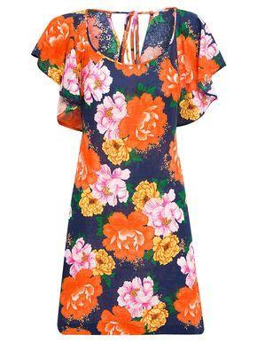 Vestido Chita Oriental - Farm - Azul  - Shop2gether