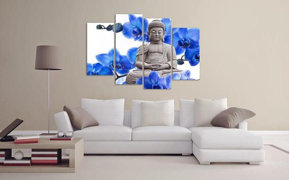 Framed canvas print wall art one piece or 4 pieces buddha orchids