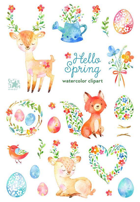 Ciao primavera. Acquerello animali e floreali clipart cervo