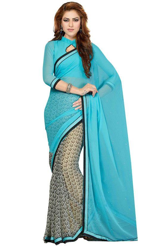 Aqua Blue and Off White Printed Chiffon Saree