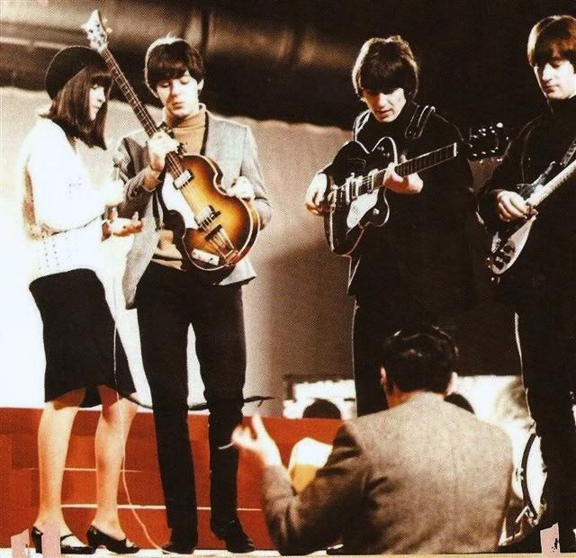 """23rd November 1964. The Beatles and Cathy McGowan during rehearsals for """"Ready…"""