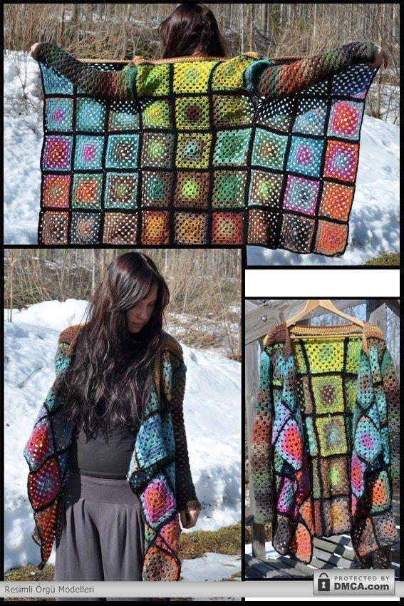 Renkli bayan hırka modelleriCrochet Ideas, Clothes'S Fashion, Crochet Projects, Granny Square Crochet Sweater, 480720 Pixel, Granny Squares Clothing, Diy, Crochet Clothing, Sewing Crochet Knits