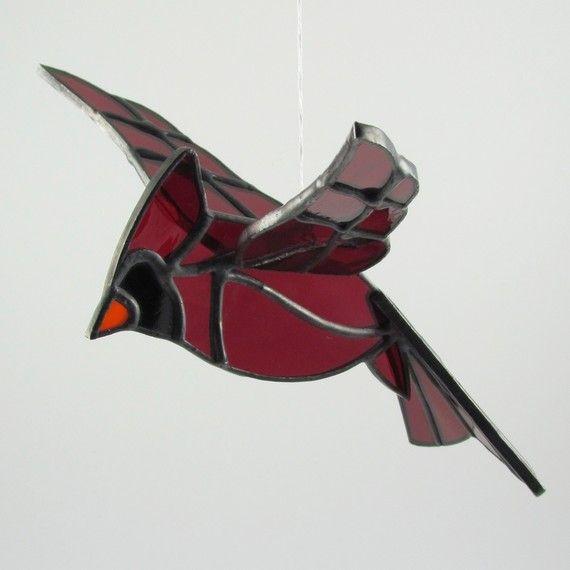 3D Cardinal Suncatcher Stained Glass Bird by AngelasGlassStudio, $35.00
