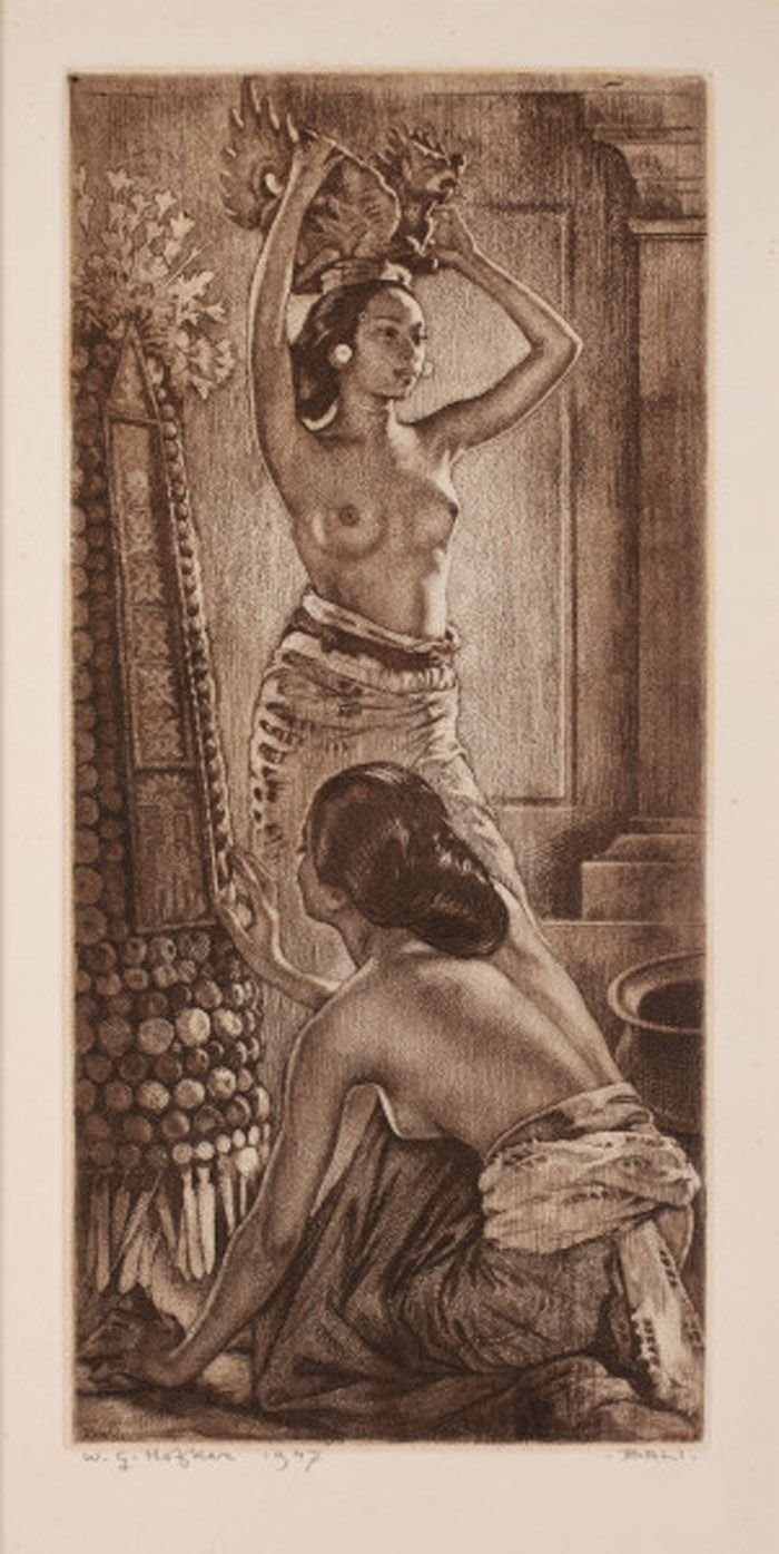 Ets Willem Gerard Hofker - 2 Balines vrouwen in een tempel