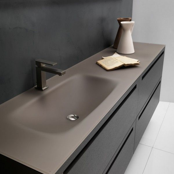 The new Via Veneto Vetro collection by Falper, with a unique soft-touch satin glass bench top, reinvents the timeless sophistication of the existing Via Veneto range.
