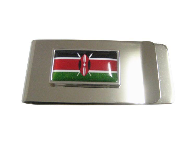 Thin Bordered Kenya Flag Pendant Money Clip