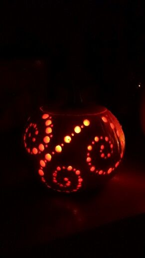 Pumpkin carving swirls with drill