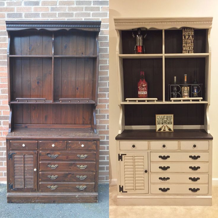 Website Picture Gallery Vintage Ethan Allen hutch Refinished with Americana Decor Chalky Finish Paint in Primitive