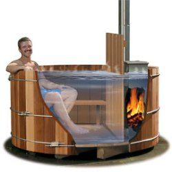 Wood-Fired Hot Tub! Good thing I have a handy roommate to make one for our new place!