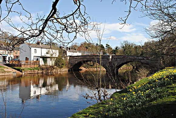 "Bridge over the River Eden at Appleby in Westmorland - Still sometimes called the ""New"" Bridge, although actually it was new in 1888. Notice the daffodils; Spring is springing."