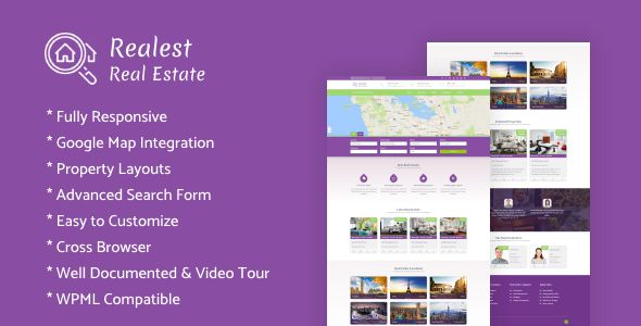 Realest – Real Estate WordPress Theme Realest is a Real Estate WordPress theme designed for real estate agencies, agents and property owners. You can also use this theme as a corporate page. The homepage has many sections: full width slider, comprehensive property search filters, locations, testimonials and other necessary options to present information about the services you provide.