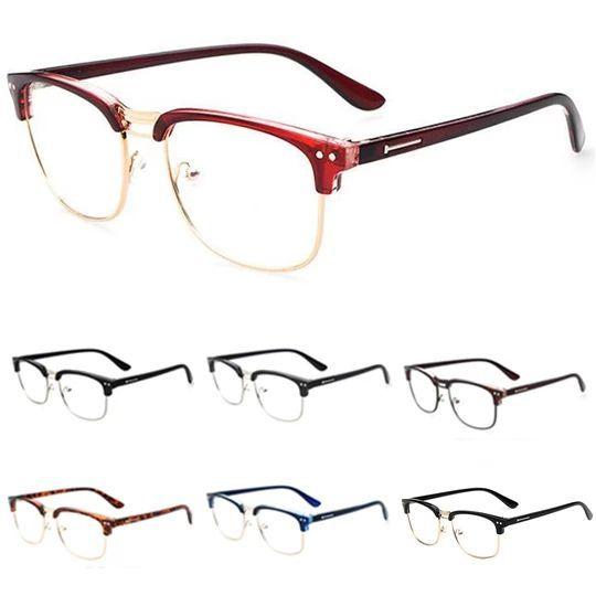 Fashion Metal Half Frame Glasses Frame Retro Women Men Reading Glass UV Protecti… – Brillen Modelle