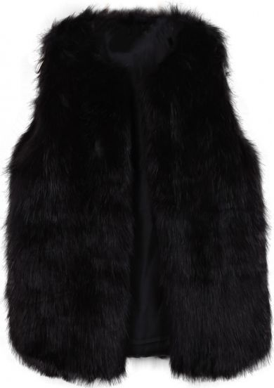 Black Sleeveless Fox Fur Vest pictures