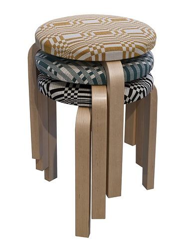 Artek stool upholstered with Johanna Gullichsen fabrics