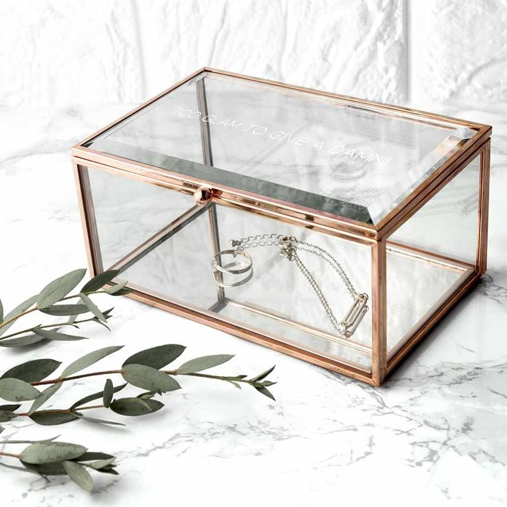 Personalised Rose Gold Glass Jewellery Box  #personalisedgifts #gifts #giftsforher #homedecor