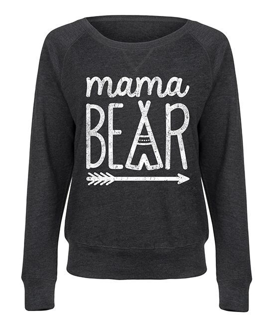 Heather Charcoal 'Mama Bear' Slouchy Pullover - Women