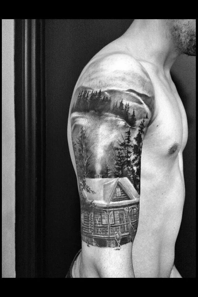 Black and grey rustic cabin outdoors tattoo...Something like this would be so cool but of the farm
