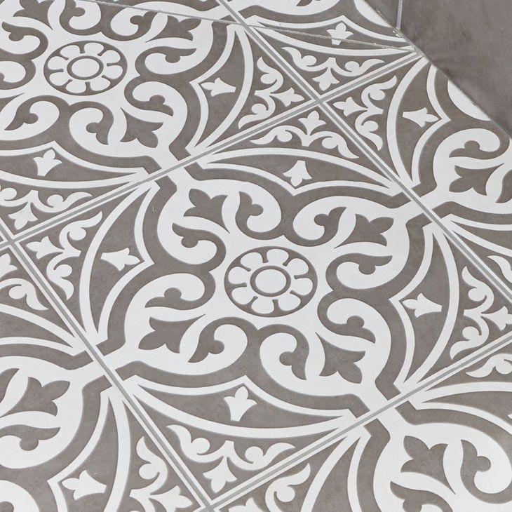 Kingsbridge Grey Patterned Floor Tiles - 331 x 331mm  Profile Large Image  Reasonably priced!