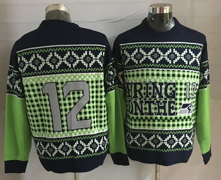 Ugly+Christmas+Sweater+NFL+Team+Seattle+Seahawks+Twelth+12th+Man+Green+Blue+White+M-XXL