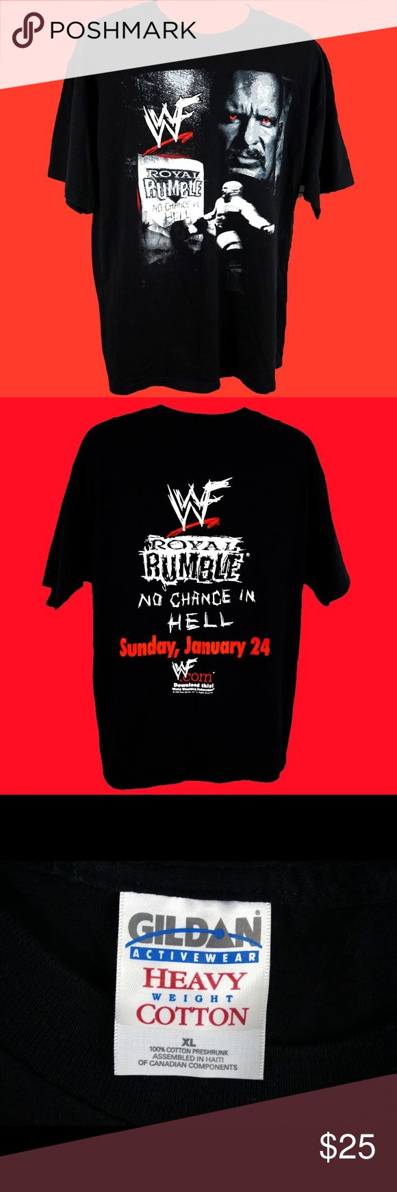 """WWF Stone Cold Royal Rumble T-Shirt Blood Red Eyes Rare Vintage WWF Royal Rumble No Chance Stone Cold Steve Austin No Chance in Hell T-Shirt Men's Size XL. This t-shirt is in amazing shape and looks to be never worn or washed. Amazing Stone Cold Shirt that you just don't find often. Detailed Measurements: Sleeves: 9"""" inches • Underarm: 23"""" inches • Length: 30"""" • Five Star Posh Rating and under 1 day shipper! Please purchase with confidence. Orders ship in 1 day or less from a clean and smoke…"""