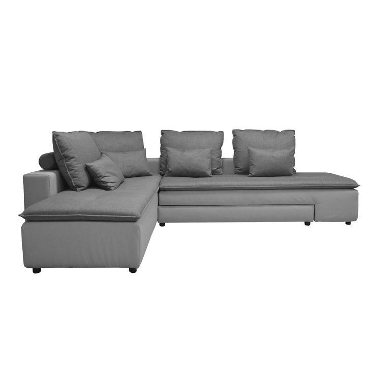 Canapé d'angle gauche convertible coloris gris clair Gris clair - Flex Salon - Les canapés convertibles - Canapés et banquettes - Canapés et fauteuils - Décoration d'intérieur - Alinéa